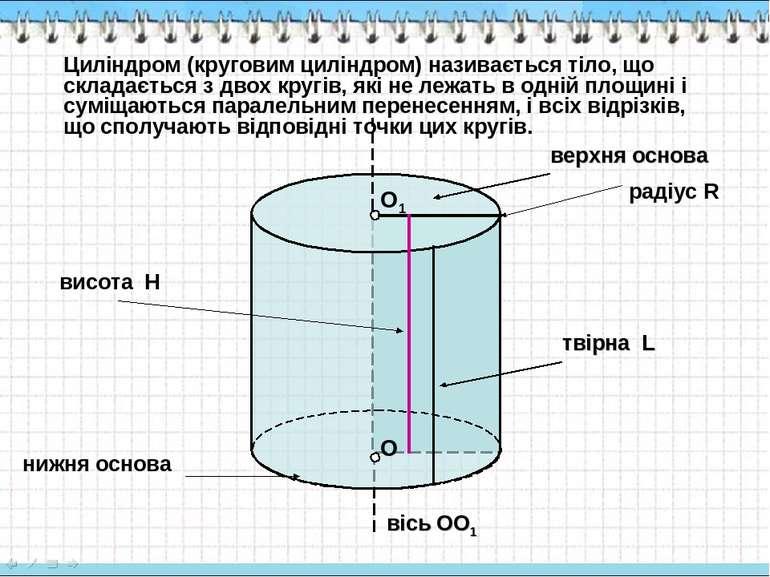 О О1 верхня основа твірна L вісь OO1 Циліндром (круговим циліндром) називаєть...