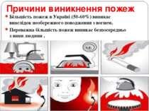 Причини виникнення пожеж Більшість пожеж в Україні (50-60%) виникає внаслідок...
