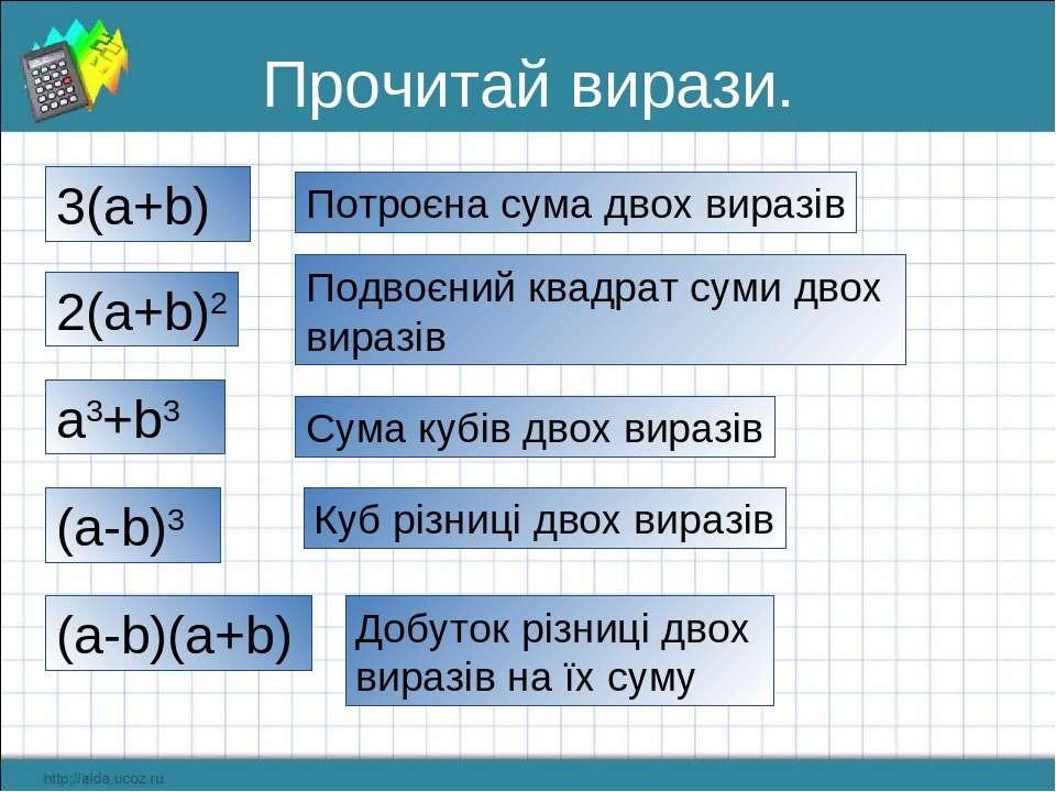 Прочитай вирази. 3(a+b) Потроєна сума двох виразів 2(a+b)2 Подвоєний квадрат ...