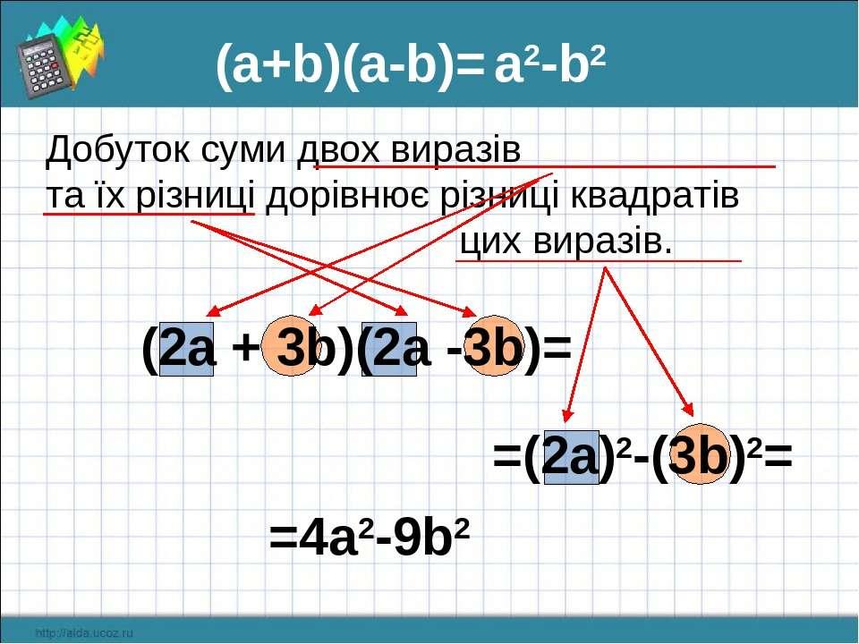 =(2a)2-(3b)2= (a+b)(а-b)= a2-b2 Добуток суми двох виразів та їх різниці дорів...