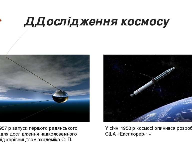 ДДослідження космосу 4 жовтня 1957 р запуск першого радянського супутника (дл...