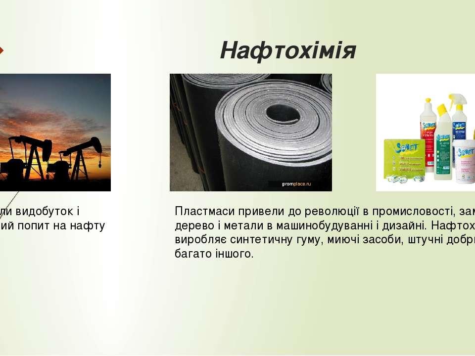 Нафтохімія Різко зросли видобуток і промисловий попит на нафту Пластмаси прив...