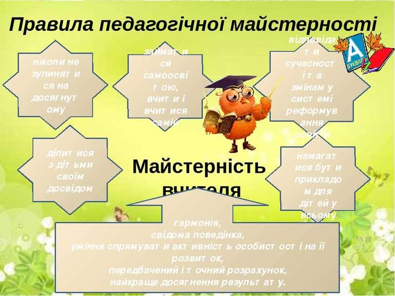 Правила педагогічної майстерності ніколи не зупинятися на досягнутому займати...