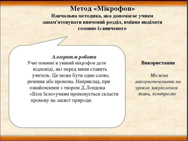 Метод «Мікрофон» Навчальна методика, яка допомагає учням запам'ятовувати вивч...