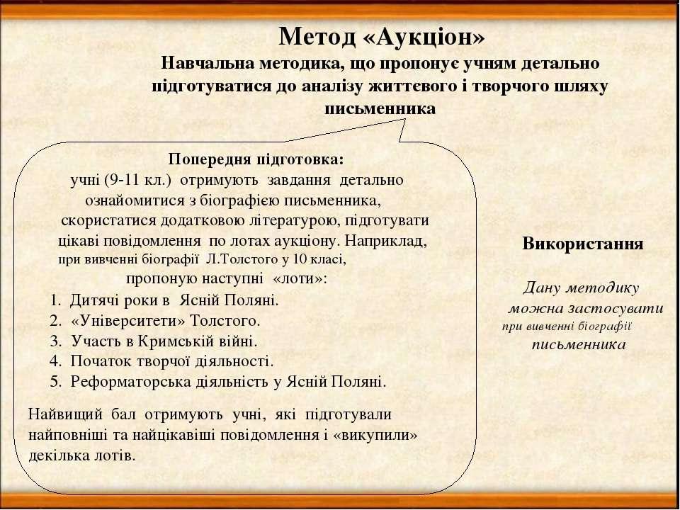 Метод «Аукціон» Навчальна методика, що пропонує учням детально підготуватися ...
