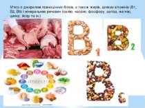 М'ясо є джерелом повноцінних білків, а також жирів, деяких вітамінів (В1, В2,...