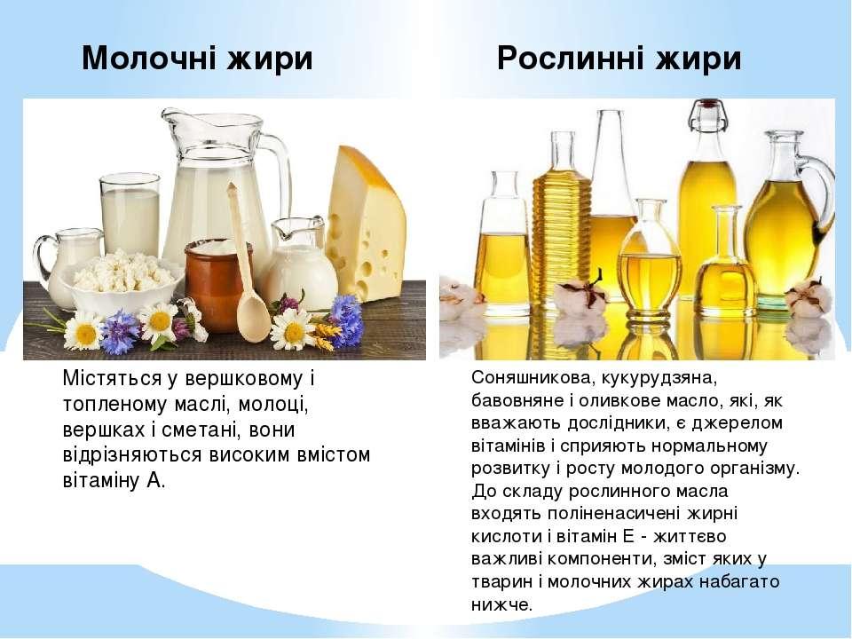 Молочні жири Рослинні жири Містяться у вершковому і топленому маслі, молоці, ...