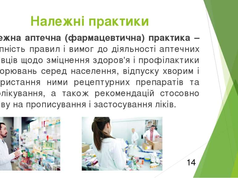 Належна аптечна (фармацевтична) практика – сукупність правил і вимог до діяль...