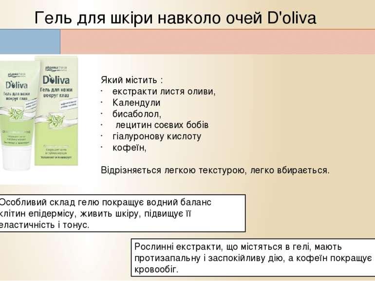 Гель для шкіри навколо очей D'oliva Який містить : екстракти листя оливи, Кал...