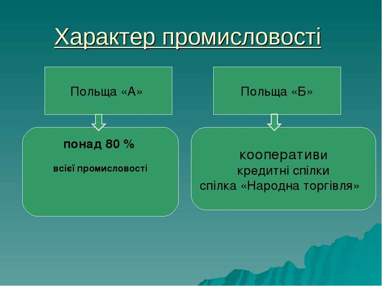 Характер промисловості Польща «А» Польща «Б» понад 80% всієї промисловості к...