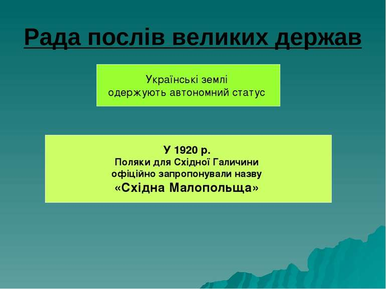 Рада послів великих держав Українські землі одержують автономний статус У 192...