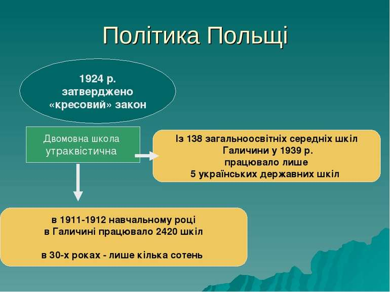 Політика Польщі 1924 р. затверджено «кресовий» закон Двомовна школа утраквіст...