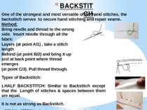 BACKSTITCH One of the strongest and most versatile of the hand stitches, the ...