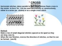 CROSS STITCH Horizontal stitches, taken parallel to each other, whose floats ...