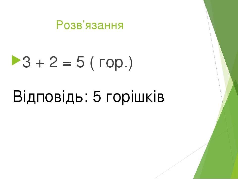 Розв'язання 3 + 2 = 5 ( гор.) Відповідь: 5 горішків