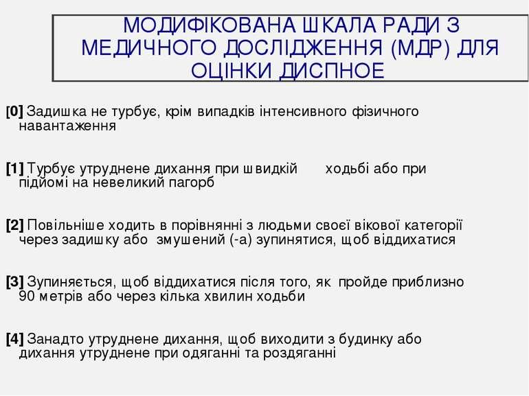 МОДИФІКОВАНА ШКАЛА РАДИ З МЕДИЧНОГО ДОСЛІДЖЕННЯ (МДР) ДЛЯ ОЦІНКИ ДИСПНОЕ [0] ...