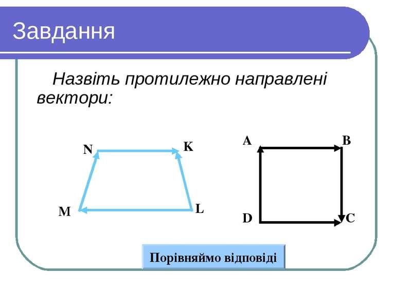 Завдання Назвіть протилежно направлені вектори: Вариант 1 Вариант 2 A B D C N...