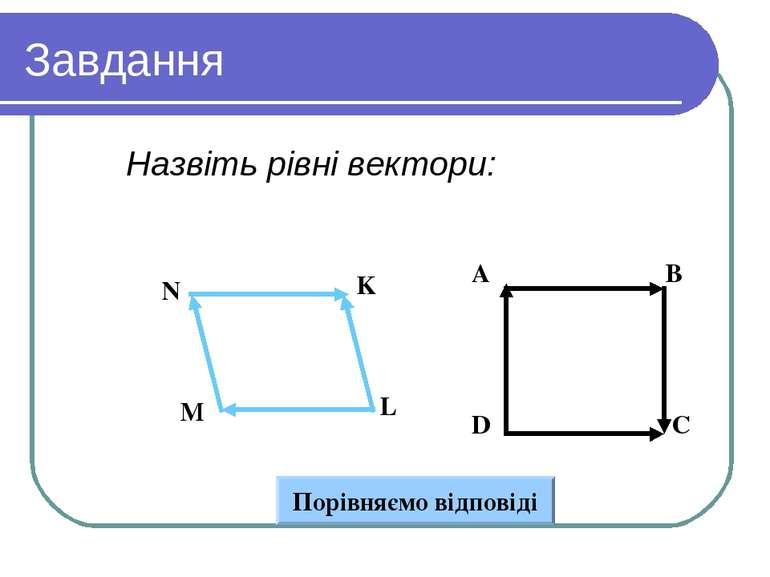 Завдання Назвіть рівні вектори: Вариант 1 Вариант 2 Порівняємо відповіді