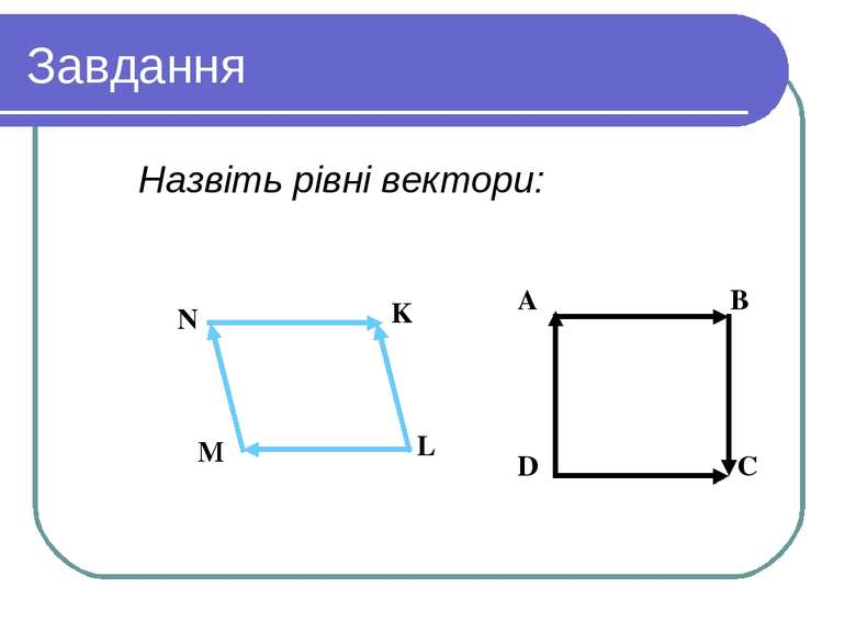 Завдання Назвіть рівні вектори: Вариант 1 Вариант 2 A B D C N K L M