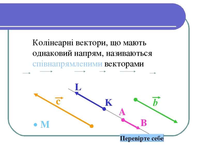 Сонаправленные вектора Колінеарні вектори, що мають однаковий напрям, називаю...