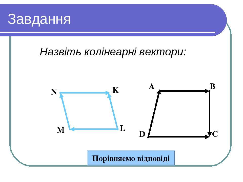 Завдання Назвіть колінеарні вектори: Вариант 1 Вариант 2 A B D C N K L M Порі...