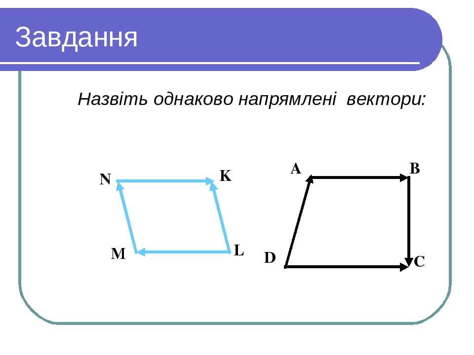 Завдання Назвіть однаково напрямлені вектори: Вариант 1 Вариант 2 A B D C N K...