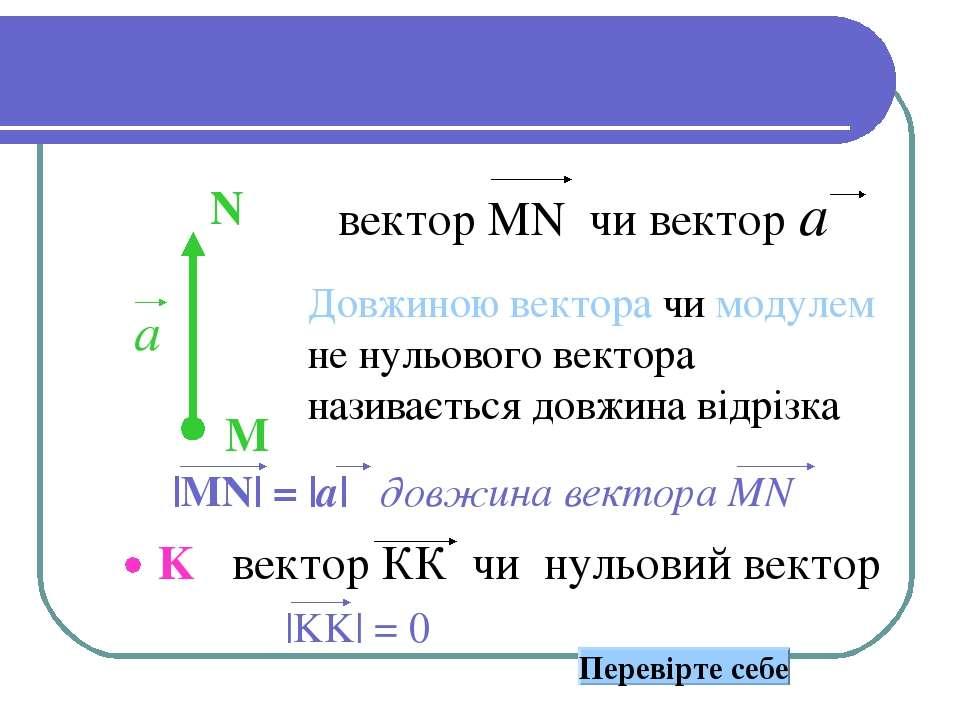Длина вектора Довжиною вектора чи модулем не нульового вектора називається до...