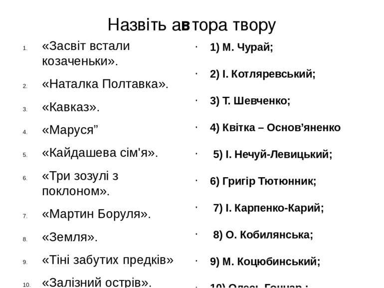 Назвіть автора твору «Засвіт встали козаченьки». «Наталка Полтавка». «Кавказ»...