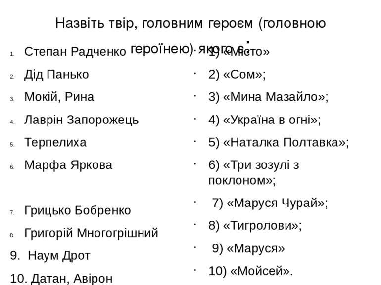Назвіть твір, головним героєм (головною героїнею) якого є: Степан Радченко Ді...