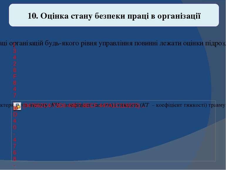 10. Оцінка стану безпеки праці в організації