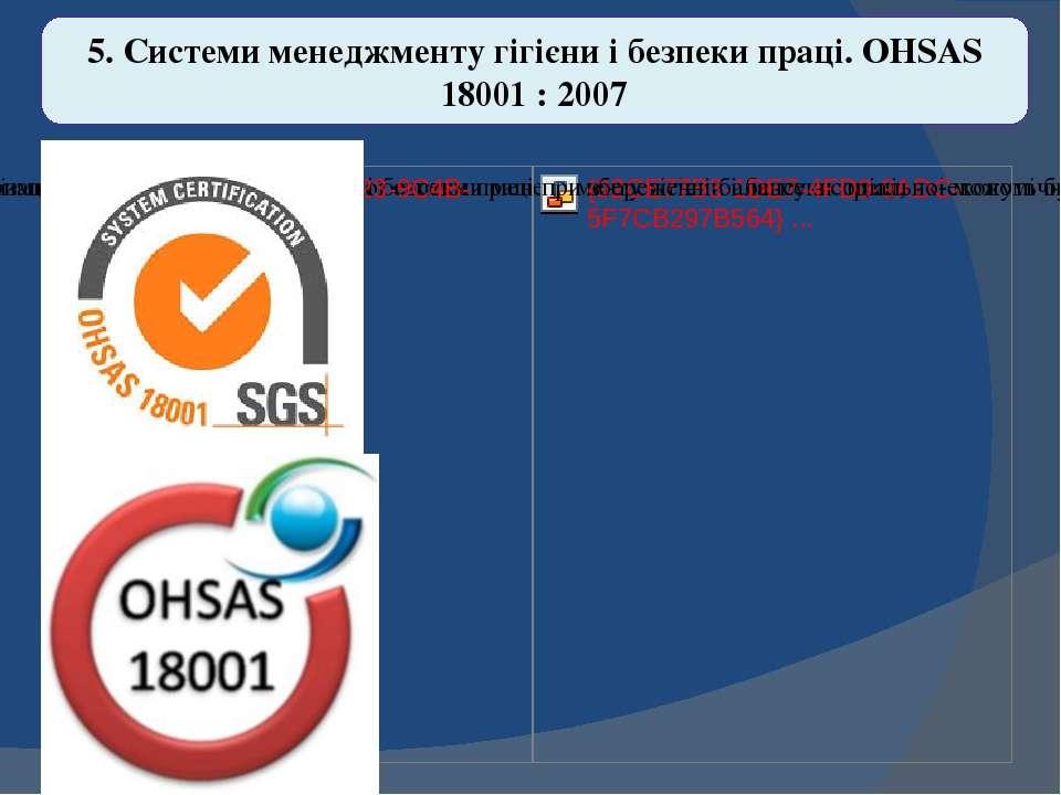 5. Системи менеджменту гігієни і безпеки праці. OHSAS 18001 : 2007