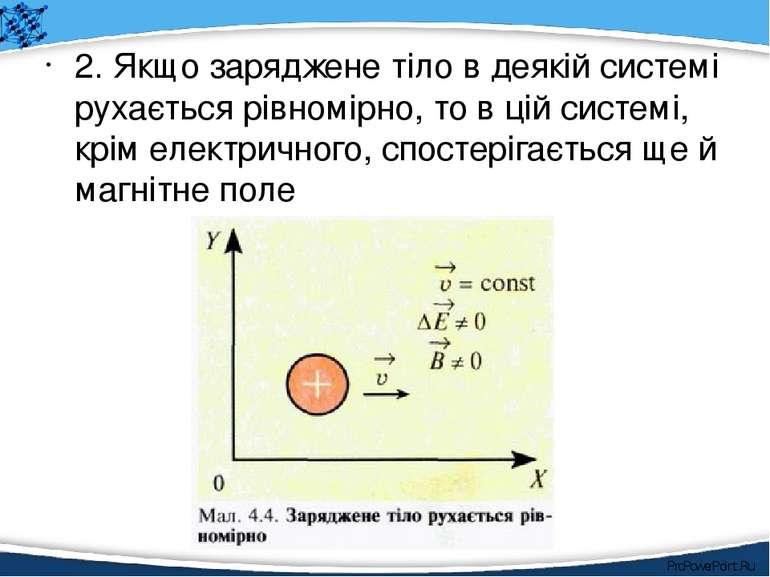 2. Якщо заряджене тіло в деякій системі рухається рівномірно, то в цій систем...