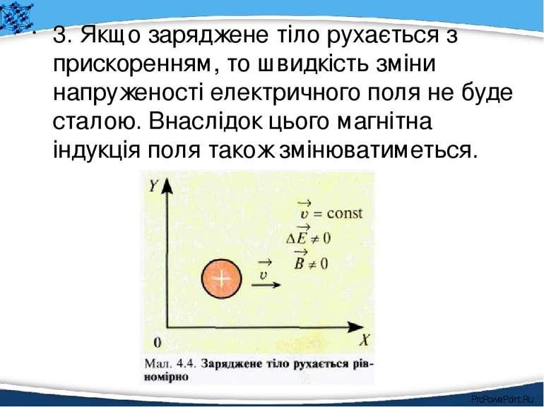 3. Якщо заряджене тіло рухається з прискоренням, то швидкість зміни напружено...