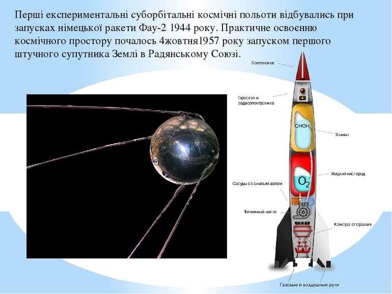 Перші експериментальні суборбітальні космічні польоти відбувались при запуска...
