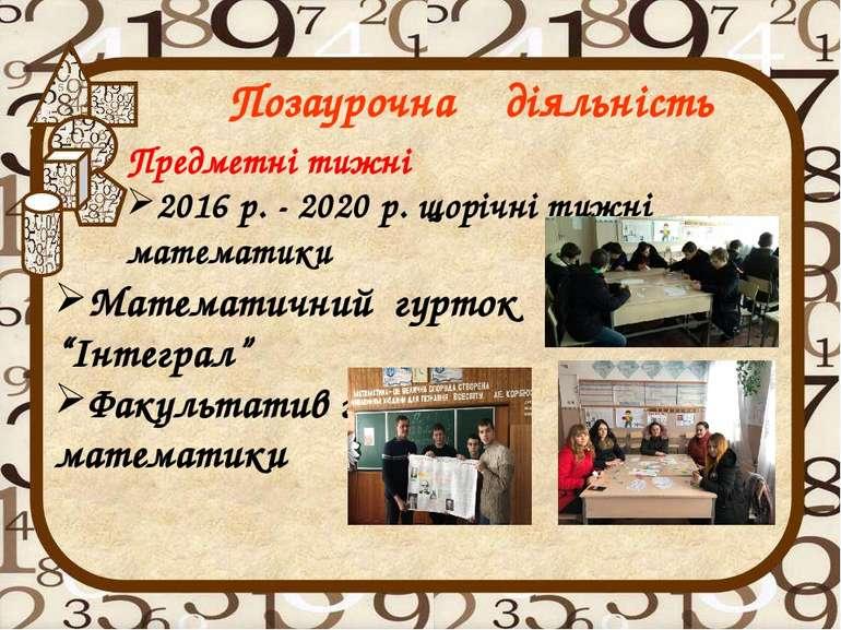 Предметні тижні 2016 р. - 2020 р. щорічні тижні математики Позаурочна діяльні...