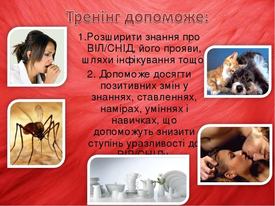 1.Розширити знання про ВІЛ/СНІД, його прояви, шляхи інфікування тощо; 2. Допо...