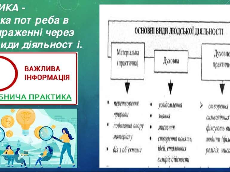ПРАКТИКА - людська потреба в самовираженні через певні види діяльності.