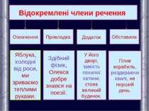 Відокремлені члени речення Означення Прикладка Додаток Обставина Яблука, холо...