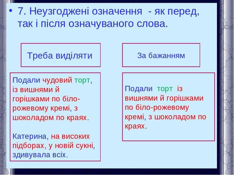 7. Неузгоджені означення - як перед, так і після означуваного слова. Треба ви...