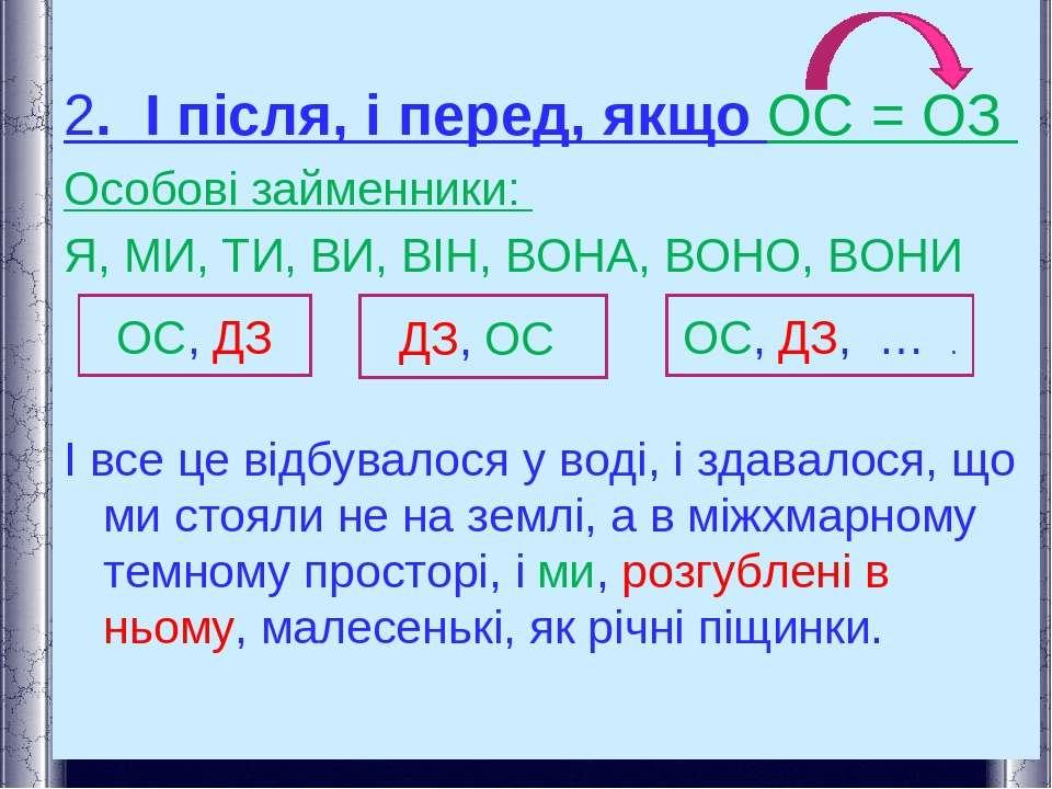 2. І після, і перед, якщо ОС = ОЗ Особові займенники: Я, МИ, ТИ, ВИ, ВІН, ВОН...