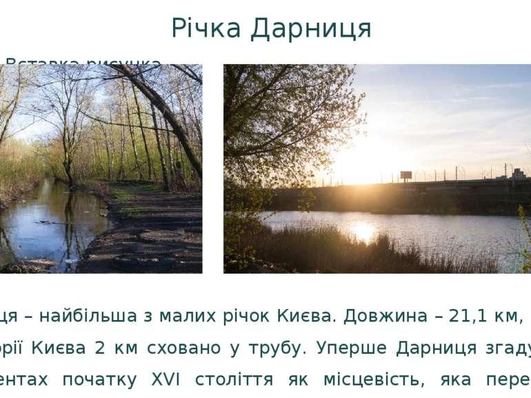 Річка Дарниця Дарниця – найбільша з малих річок Києва. Довжина – 21,1 км, з н...