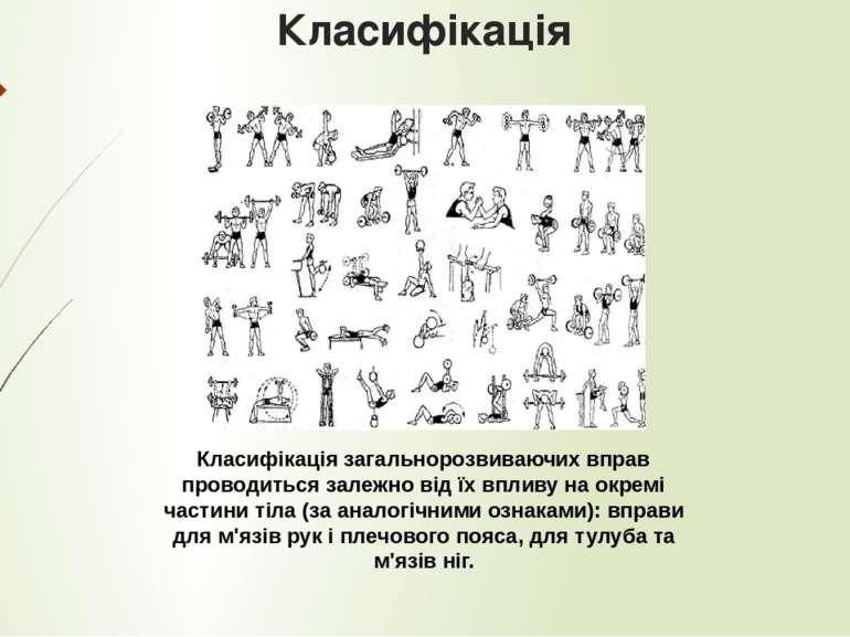 Класифікація Класифікація загальнорозвиваючих вправ проводиться залежно від ї...