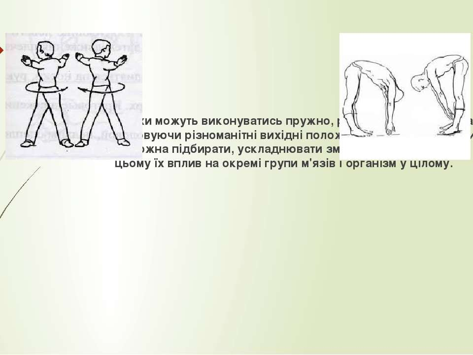 Описані рухи можуть виконуватись пружно, ривками, з махами, плавно. Використо...