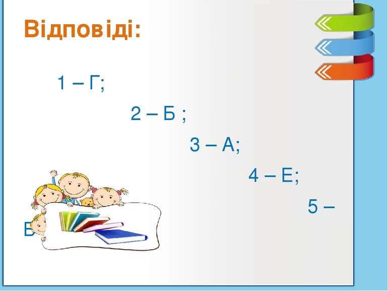 Відповіді: 1 – Г; 2 – Б ; 3 – А; 4 – Е; 5 – В