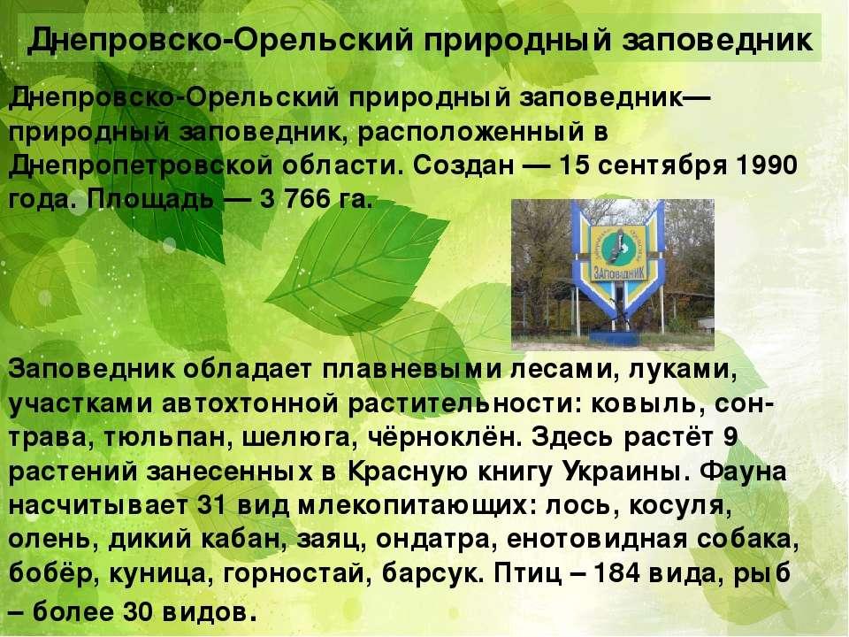 Днепровско-Орельский природный заповедник Днепро вско-Оре льский приро дный з...