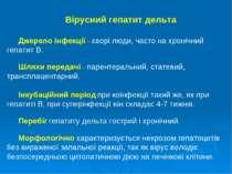 Вірусний гепатит дельта Джерело інфекції – хворі люди, часто на хронічний геп...