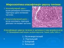 Мікроскопічна класифікація цирозу печінки: 1. Монолобулярний цироз – вузли-ре...