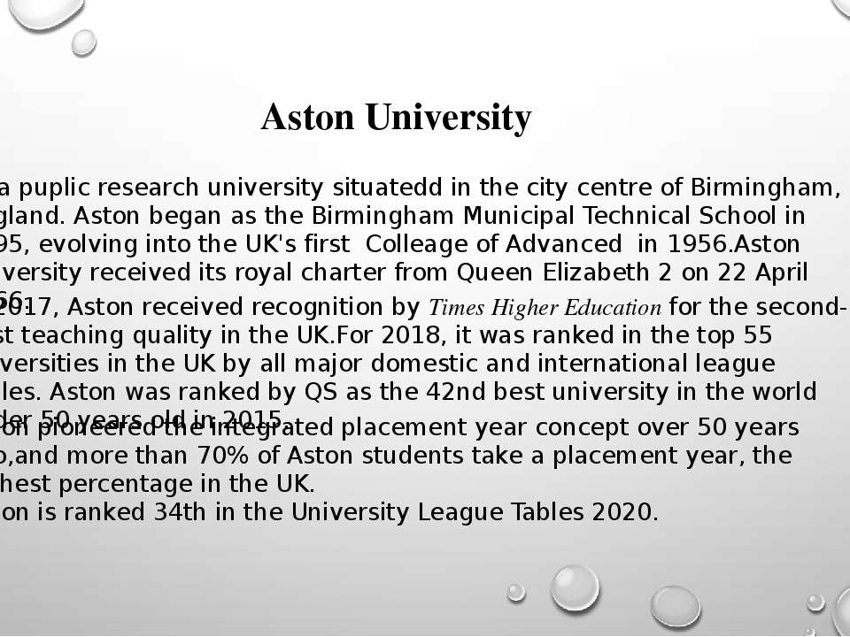 Aston University  Is a puplic research university situatedd in the city centr...