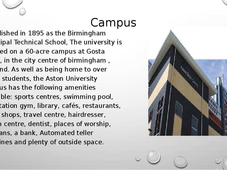 Campus Established in 1895 as the Birmingham Municipal Technical School, The ...