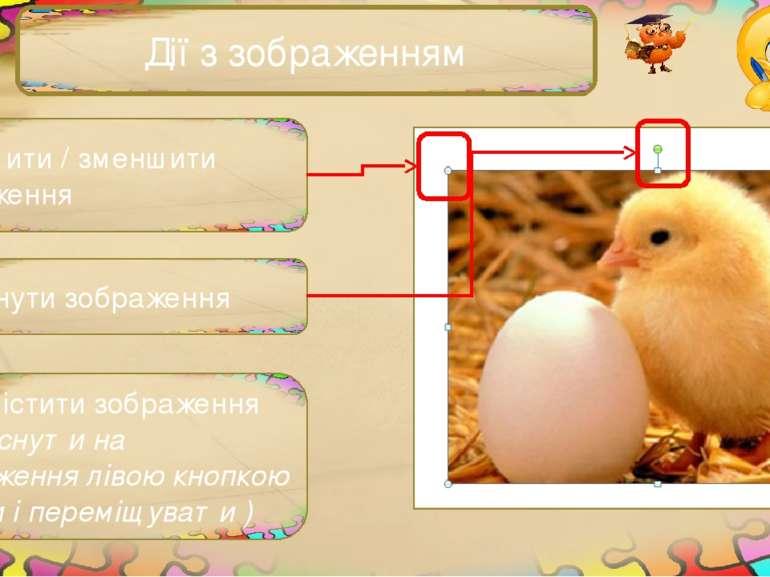Дії з зображенням Збільшити / зменшити зображення Повернути зображення Перемі...